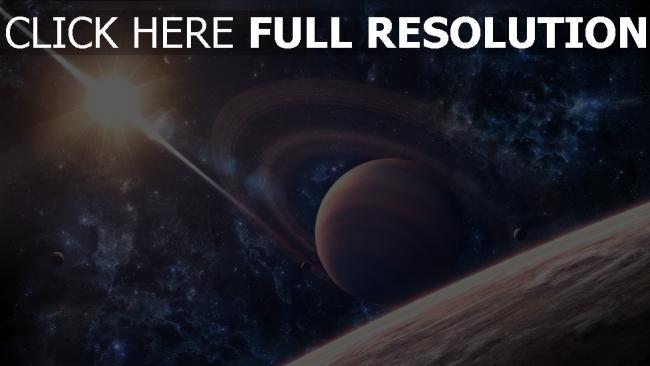 fond d'écran hd planète avec des anneaux étoile éclatant