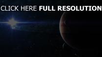 planète avec des anneaux lumière étoile