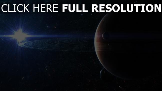 fond d'écran hd planète avec des anneaux lumière étoile
