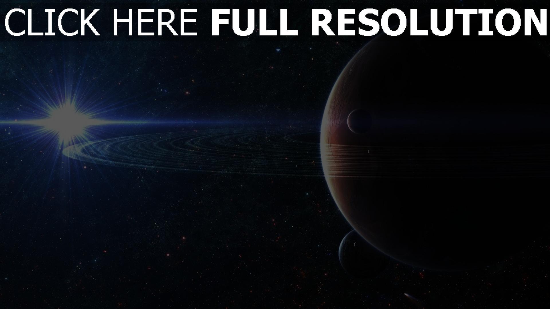 fond d'écran 1920x1080 planète avec des anneaux lumière étoile