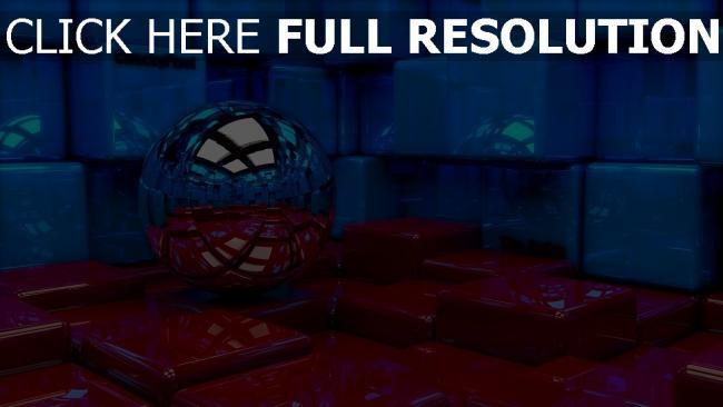 fond d'écran hd cube sphère réflexion surface brillante