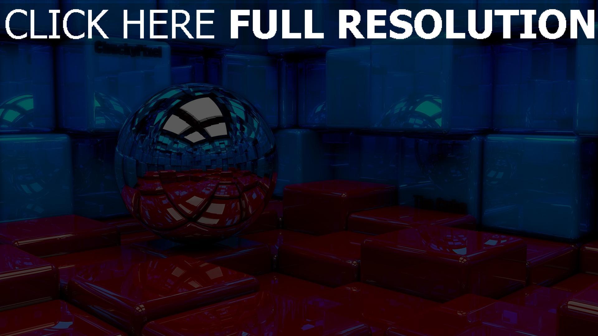 fond d'écran 1920x1080 cube sphère réflexion surface brillante