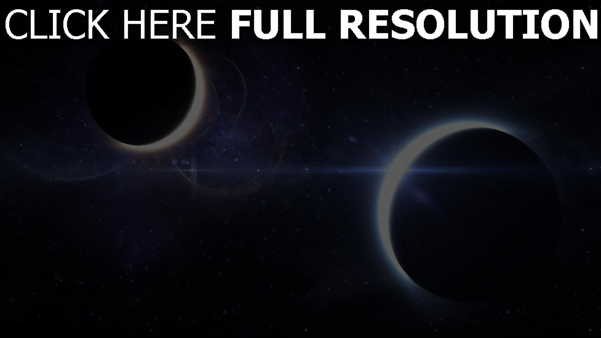 fond d'écran 1920x1080 éclipse planète espace profond