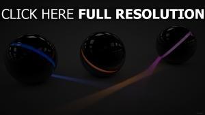 sphère neon lumière surface brillante