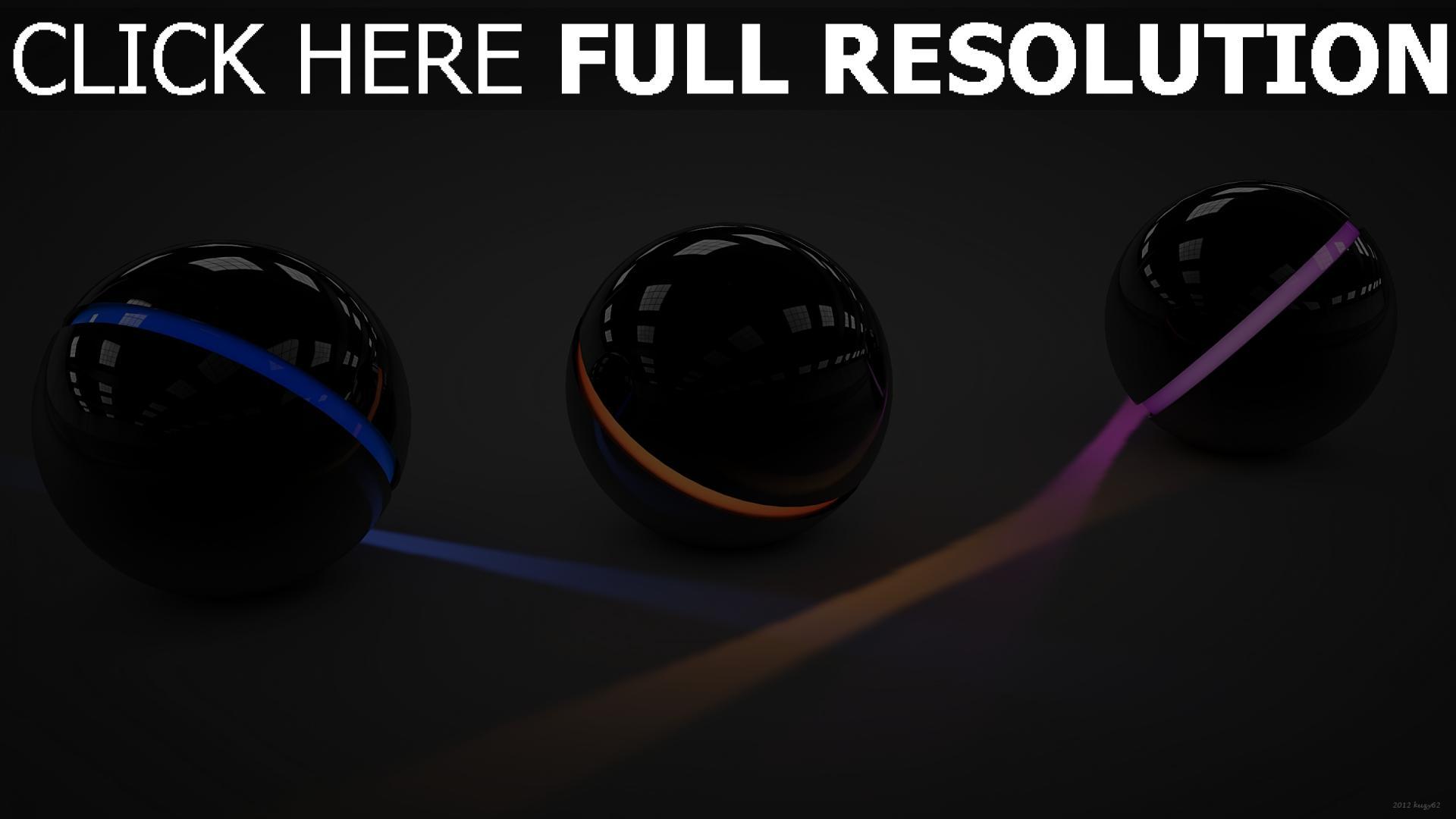 fond d'écran 1920x1080 sphère neon lumière surface brillante