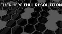hexaèdre surface brillante noir et blanc