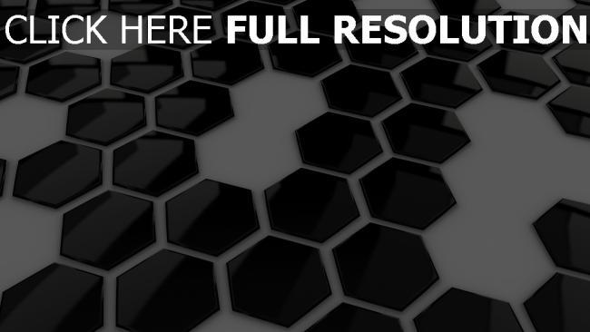 fond d'écran hd hexaèdre surface brillante noir et blanc