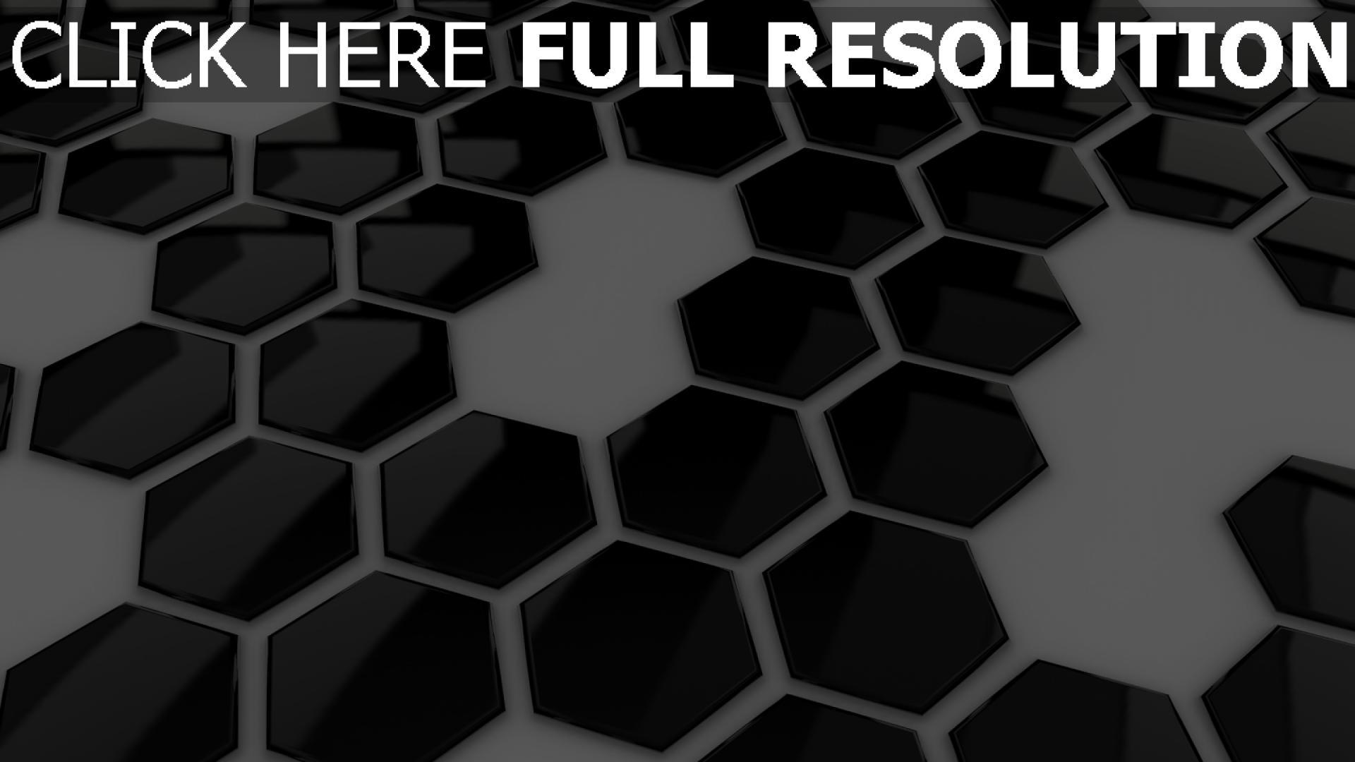 fond d'écran 1920x1080 hexaèdre surface brillante noir et blanc