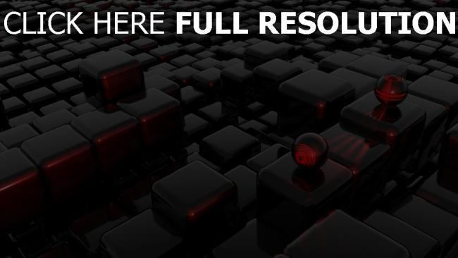 fond d'écran hd cube foncé sphère surface brillante infini