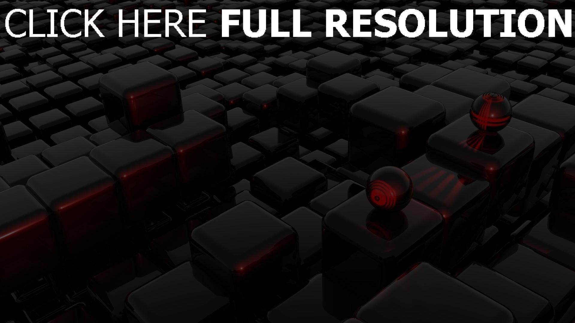 fond d'écran 1920x1080 cube foncé sphère surface brillante infini