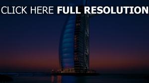 burj al arab hôtel soirée ciel
