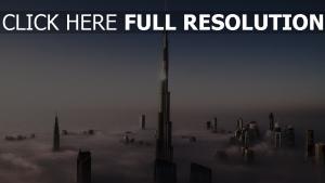 burj khalifa vue aérienne nuages tour