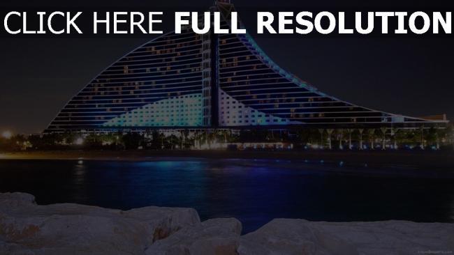 fond d'écran hd jumeirah beach hôtel rétro-éclairage néon vue de côté