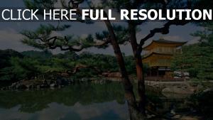 temple du pavillon d'or lac vue de côté