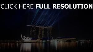 marina bay hôtel lumière nuit singapour