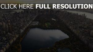 new york soirée parc central vue aérienne états-unis