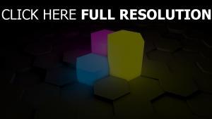 hexaèdre figure néon multicolore