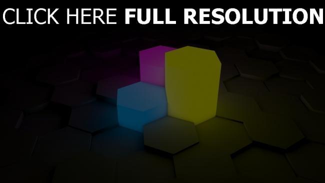 fond d'écran hd hexaèdre figure néon multicolore