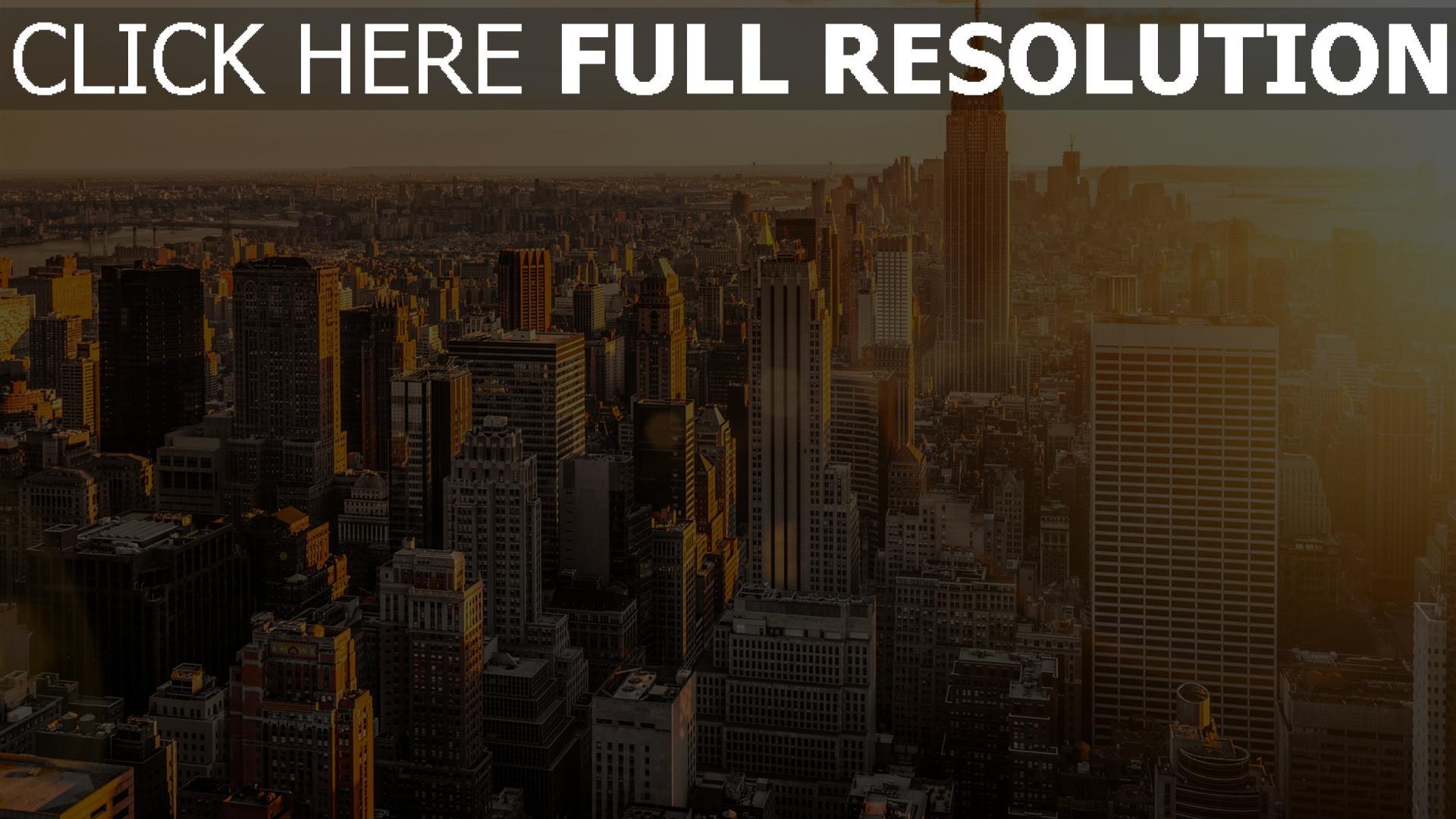 Fond d 39 cran hd new york coucher du soleil gratte ciel - Coucher du soleil new york ...