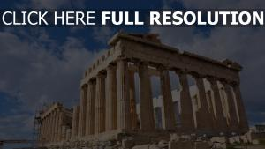 parthénon temple ruines athènes ciel