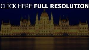 parlement hongrie rétro-éclairage nuit vue de face