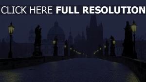 pont charles matin brouillard lanterne prague