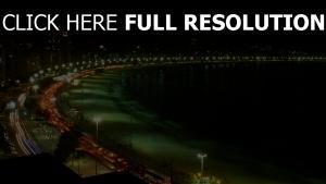 copacabana vue aérienne rétro-éclairage nuit