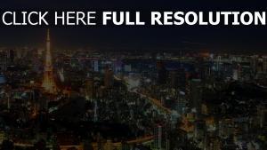 tokyo nuit lumineux vue aérienne