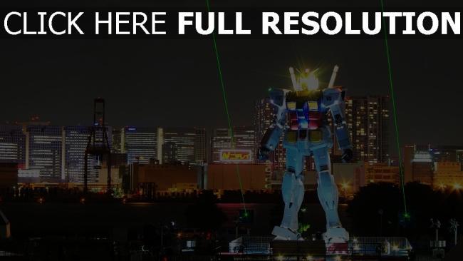 fond d'écran hd robot lumineux tokyo laser