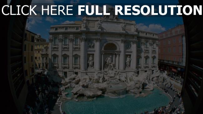 fond d'écran hd fontaine de trevi vue d'en haut statue rome