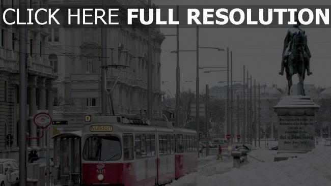 fond d'écran hd vienne rue couverts de neige statue
