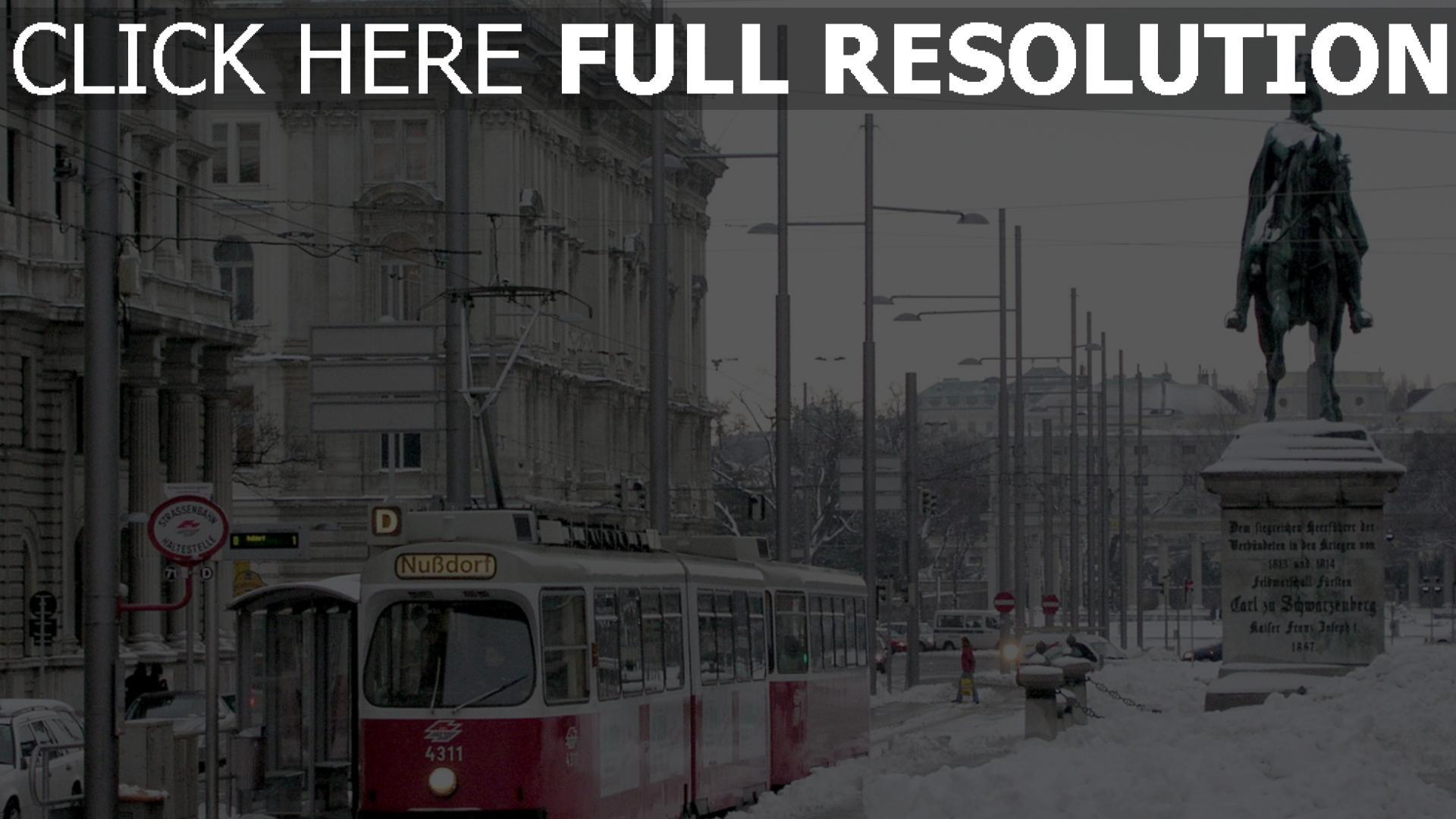 fond d'écran 1920x1080 vienne rue couverts de neige statue
