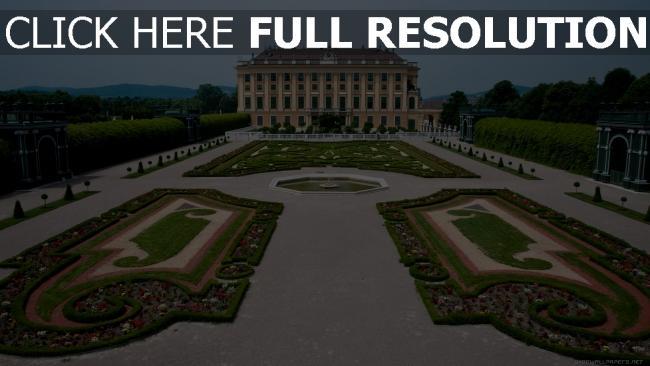 fond d'écran hd château de schönbrunn vienne parterre vue de face