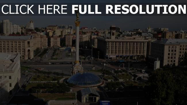 fond d'écran hd place statue ukraine vue d'en haut