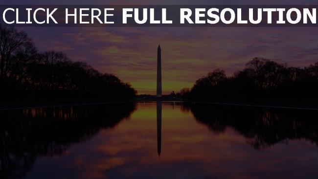 fond d'écran hd le washington monument obélisque états-unis soirée
