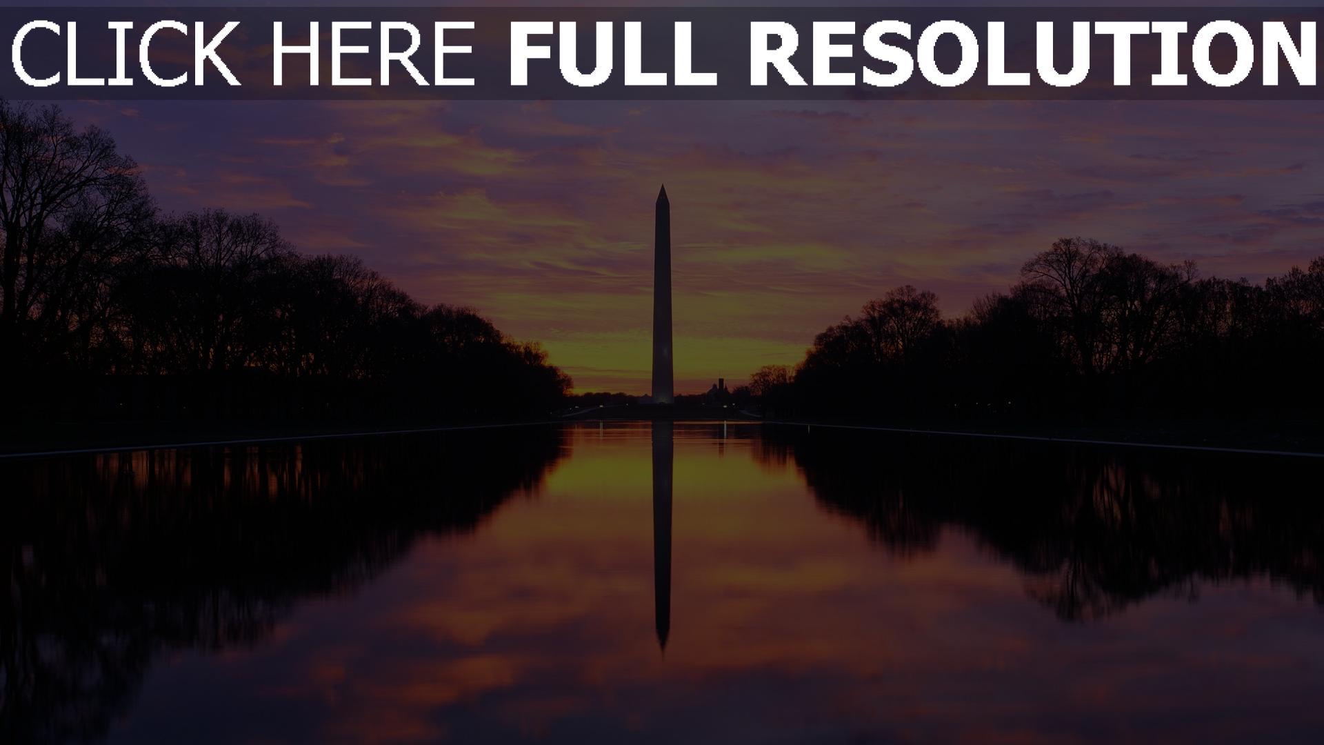 fond d'écran 1920x1080 le washington monument obélisque états-unis soirée