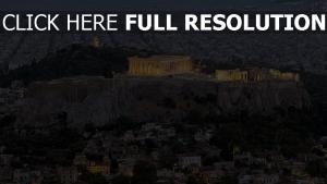 parthénon vue aérienne soirée athènes