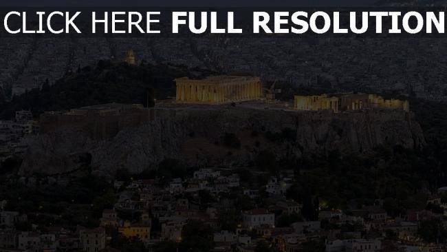 fond d'écran hd parthénon vue aérienne soirée athènes