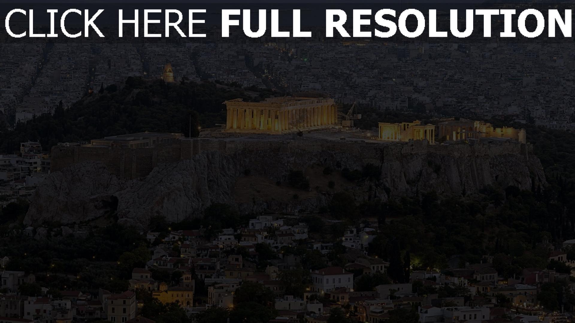 fond d'écran 1920x1080 parthénon vue aérienne soirée athènes