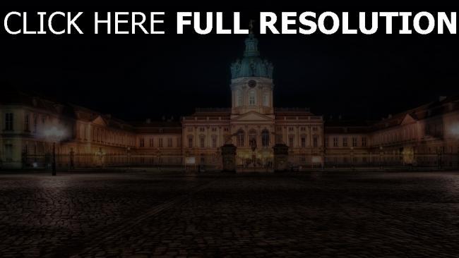fond d'écran hd charlottenburg palace cour nuit vue de face