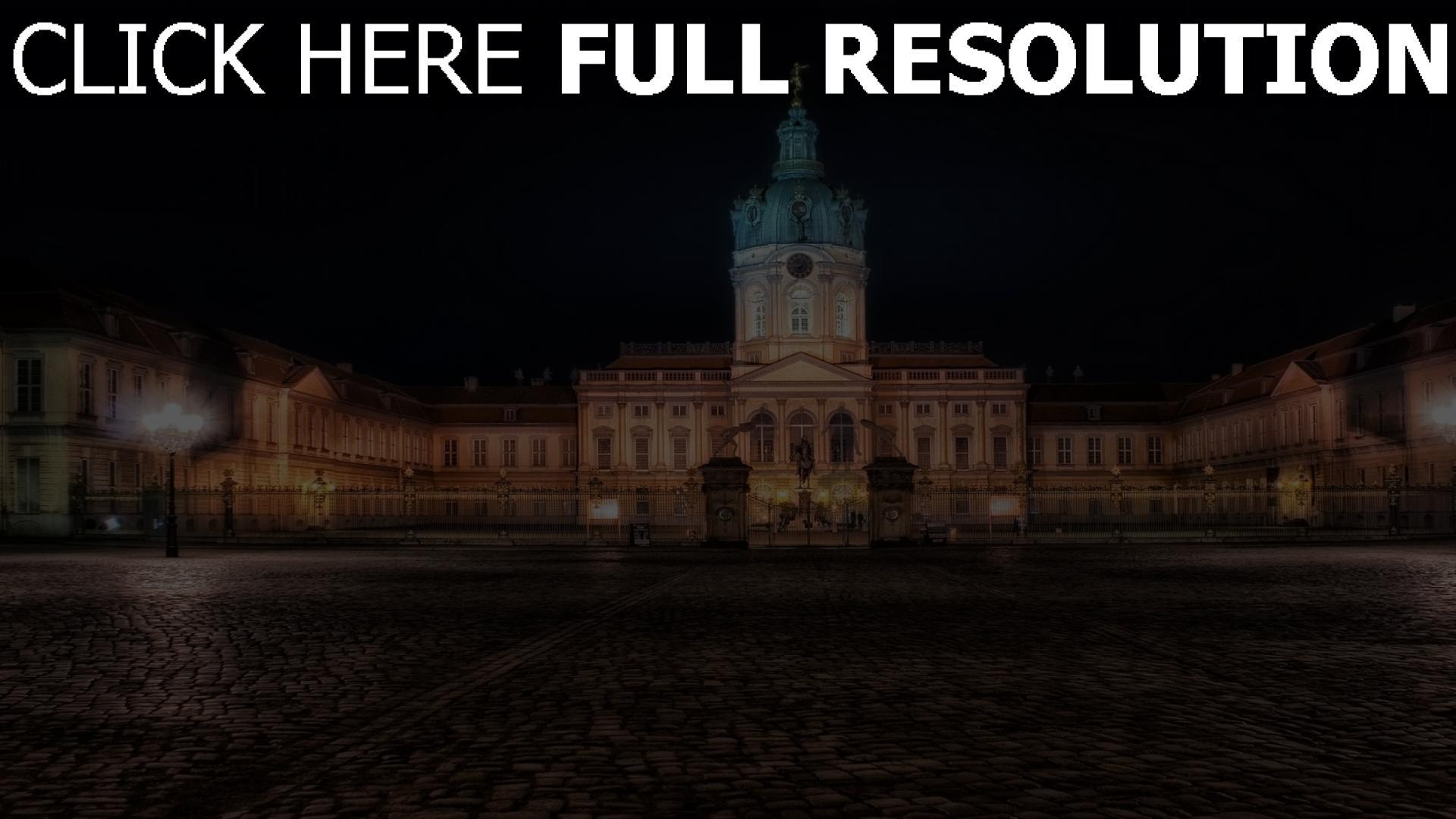 fond d'écran 1920x1080 charlottenburg palace cour nuit vue de face