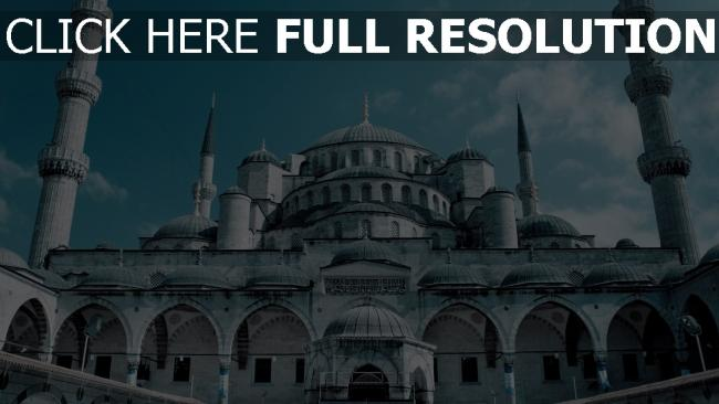 fond d'écran hd mosquée bleue vue de face istanbul
