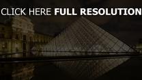louvre pyramide réflexion lumineux nuit