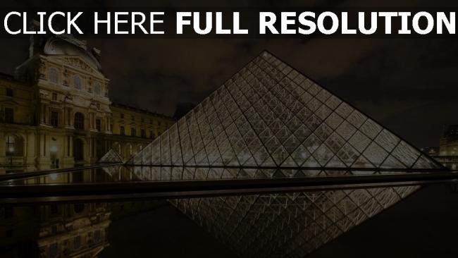 fond d'écran hd louvre pyramide réflexion lumineux nuit