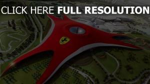 ferrari world vue aérienne parc à thème abou dabi