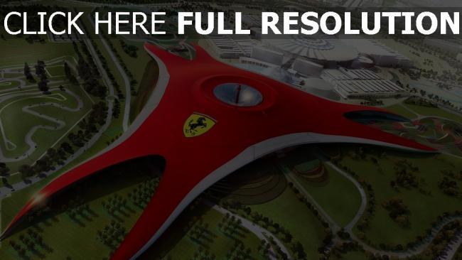 fond d'écran hd ferrari world vue aérienne parc à thème abou dabi