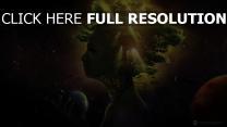 visage arbre galaxie planète