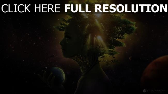 fond d'écran hd visage arbre galaxie planète