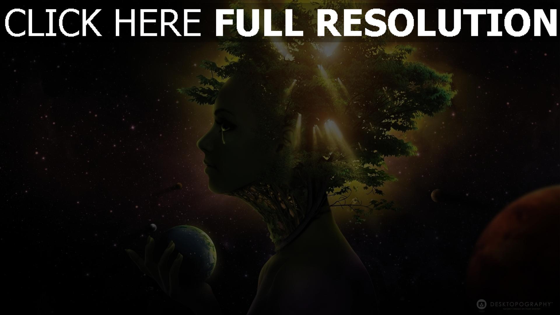 fond d'écran 1920x1080 visage arbre galaxie planète