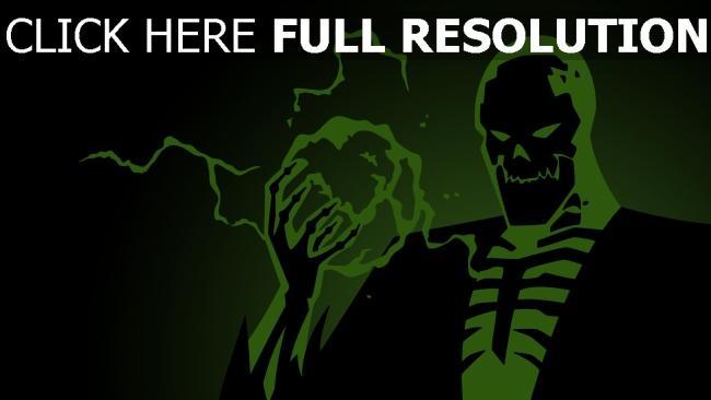 fond d'écran hd squelette vert énergie terrible
